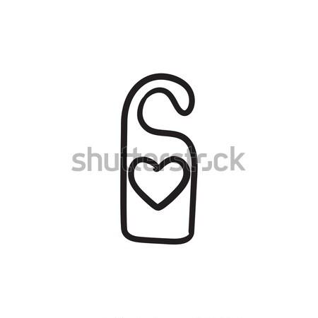 Door tag with heart sketch icon. Stock photo © RAStudio