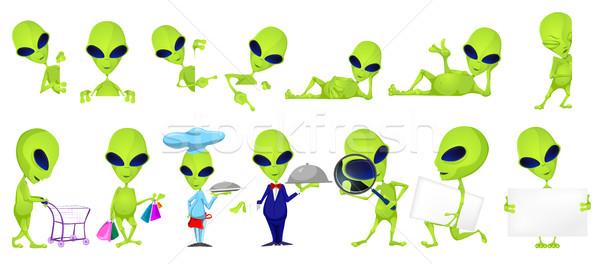 Vetor conjunto engraçado verde ilustrações posando Foto stock © RAStudio