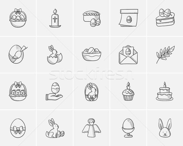 Easter sketch icon set. Stock photo © RAStudio