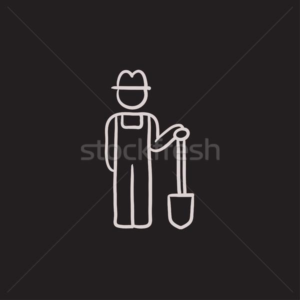Farmer with shovel sketch icon. Stock photo © RAStudio