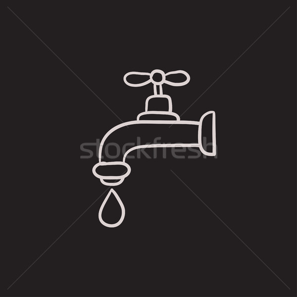 Faucet with water drop sketch icon. Stock photo © RAStudio