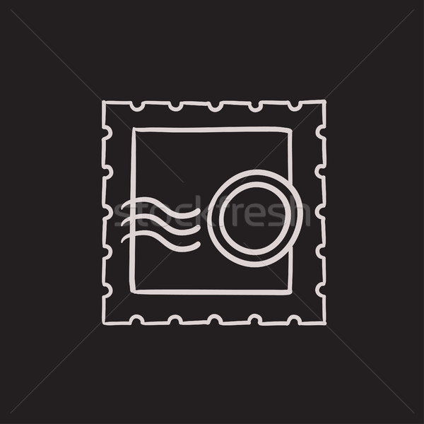 Filatelie schets icon vector geïsoleerd Stockfoto © RAStudio