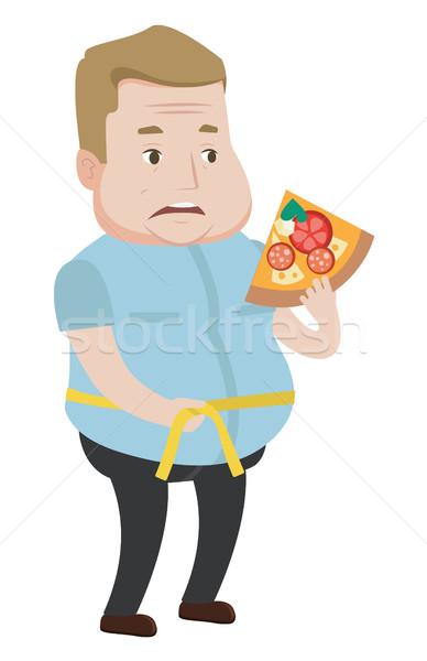 Férfi mér csípővonal kövér férfi szelet pizza Stock fotó © RAStudio