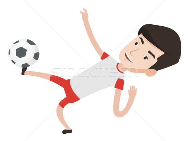 Soccer player kicking ball vector illustration. Stock photo © RAStudio
