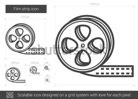 кинопленка линия икона вектора изолированный белый Сток-фото © RAStudio