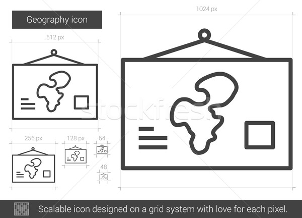 Geografia line ikona wektora odizolowany biały Zdjęcia stock © RAStudio