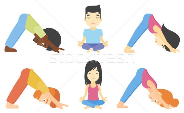 Vector ingesteld mannen vrouwen oefenen yoga Stockfoto © RAStudio