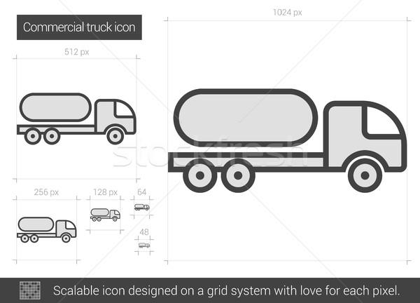 Commerciaux camion ligne icône vecteur isolé Photo stock © RAStudio