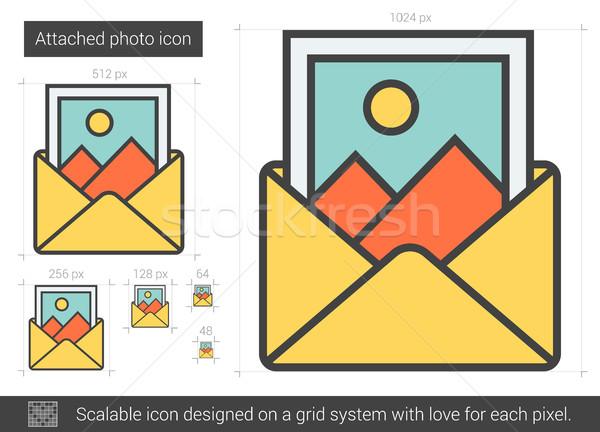 Bağlı fotoğraf hat ikon vektör yalıtılmış Stok fotoğraf © RAStudio