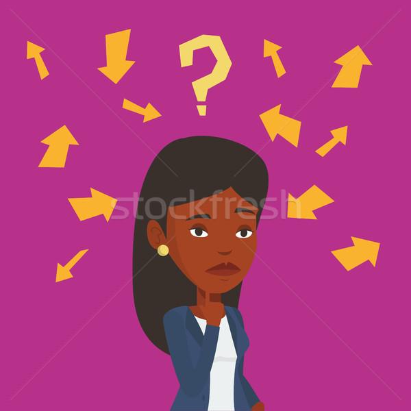 Young business woman thinking vector illustration. Stock photo © RAStudio