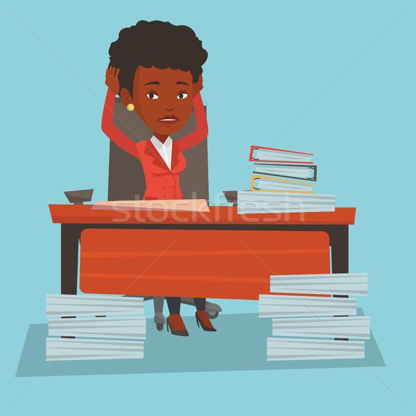 Rozpacz business woman pracy biuro kobieta posiedzenia Zdjęcia stock © RAStudio