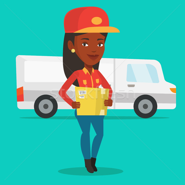 Delivery courier carrying cardboard boxes. Stock photo © RAStudio