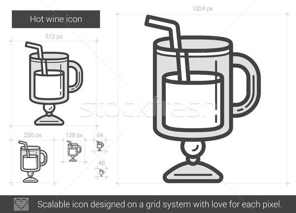 Stock photo: Hot wine line icon.