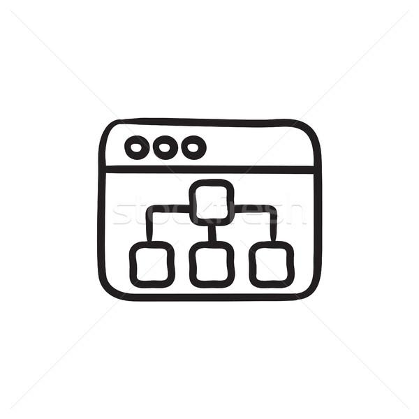 Stock fotó: Böngésző · ablak · mappák · rajz · ikon · vektor