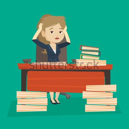 Despair business woman working in office. Stock photo © RAStudio