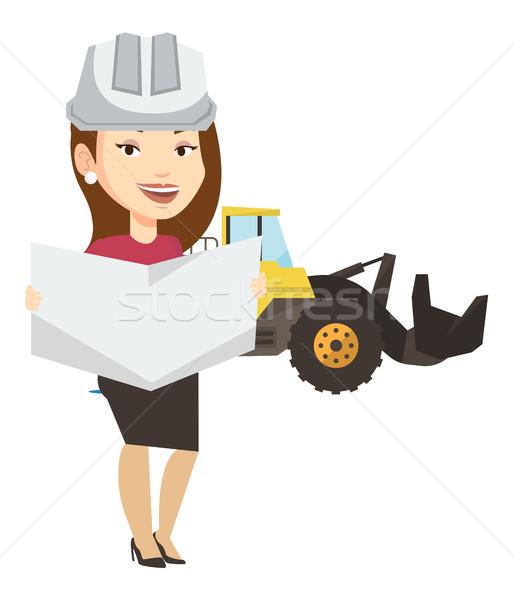 Stockfoto: Ingenieur · kijken · blauwdruk · kaukasisch · bouwplaats · vrouwelijke