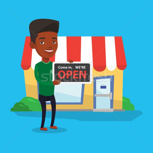 магазин владелец открытых дружественный Сток-фото © RAStudio