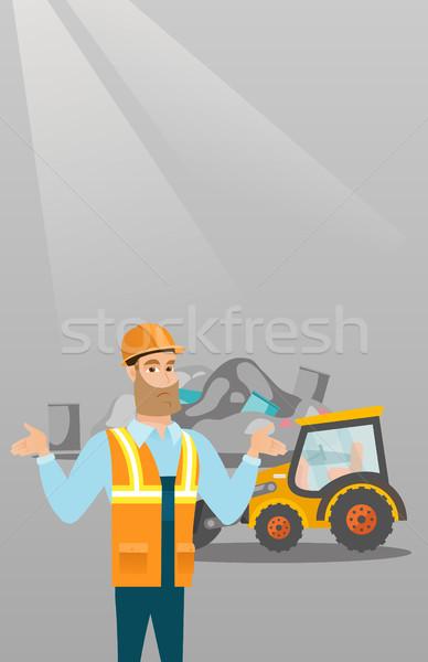 Stockfoto: Werknemer · bulldozer · onzin · permanente · armen · man