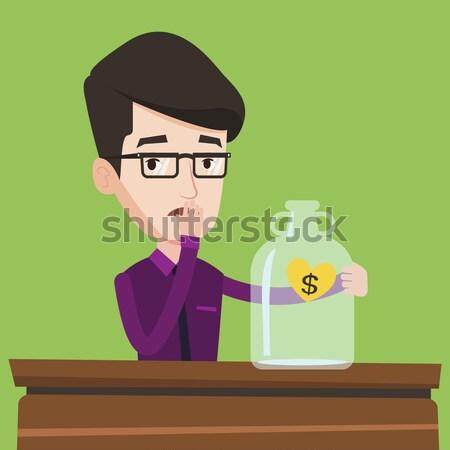 Człowiek patrząc pusty ceny polu Zdjęcia stock © RAStudio