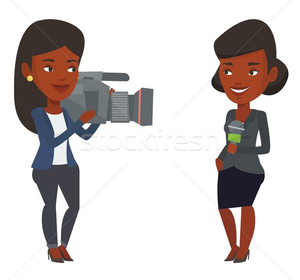 Tv journaliste opérateur micro nouvelles Photo stock © RAStudio