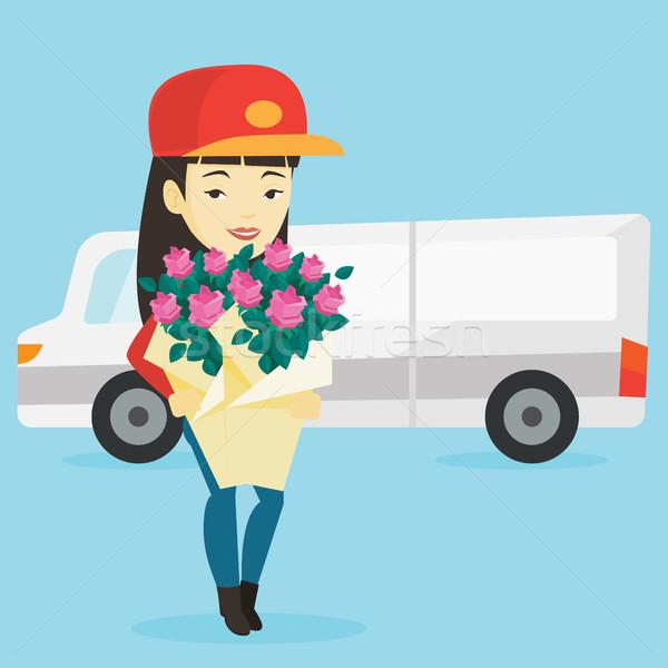 Stock foto: Lieferung · Kurier · halten · Bouquet · Blumen · asian