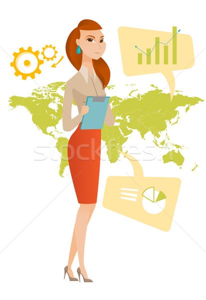 Donna d'affari lavoro business globale imprenditrice piedi Foto d'archivio © RAStudio