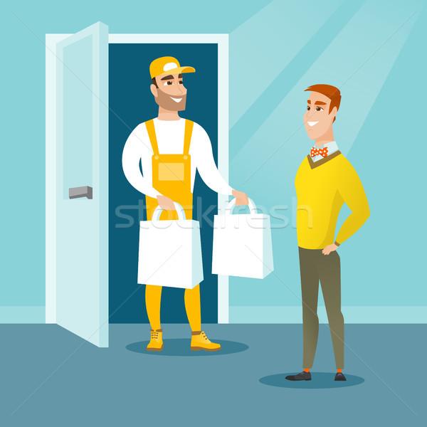 Consegna corriere generi alimentari cliente shopping online fine Foto d'archivio © RAStudio