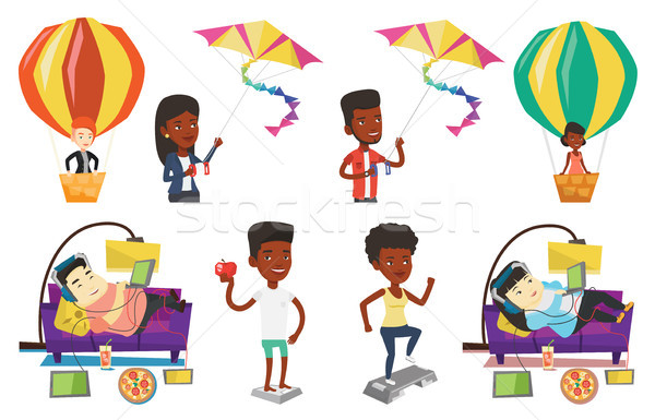 Stock photo: Vector set of people during leisure activity.