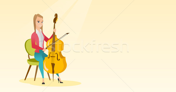 Woman playing the cello vector illustration. Stock photo © RAStudio