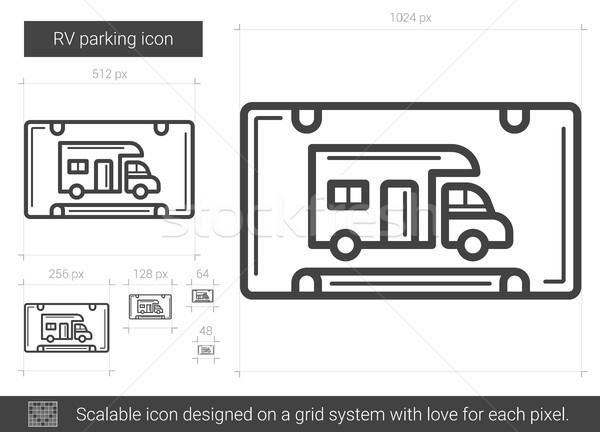 Parkeren lijn icon vector geïsoleerd witte Stockfoto © RAStudio