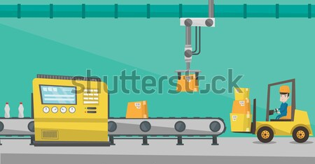 Robotic packaging conveyor belt. Stock photo © RAStudio