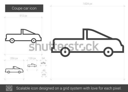 Stockfoto: Coupe · auto · lijn · icon · vector · geïsoleerd