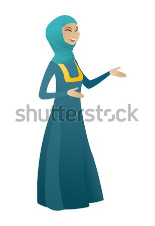 Young muslim business woman with speech bubble. Stock photo © RAStudio