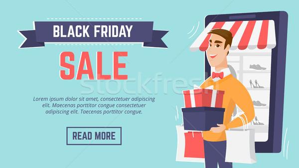 черная пятница продажи современных плакат шаблон Сток-фото © RAStudio