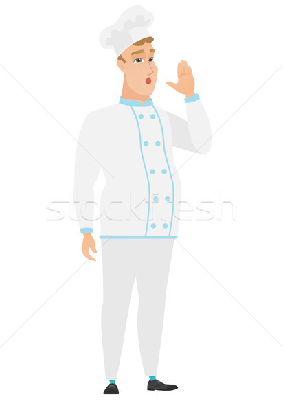 Caucasian chef cook calling for help. Stock photo © RAStudio