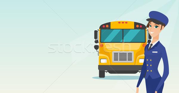 Fiatal kaukázusi női iskolabusz sofőr derűs Stock fotó © RAStudio