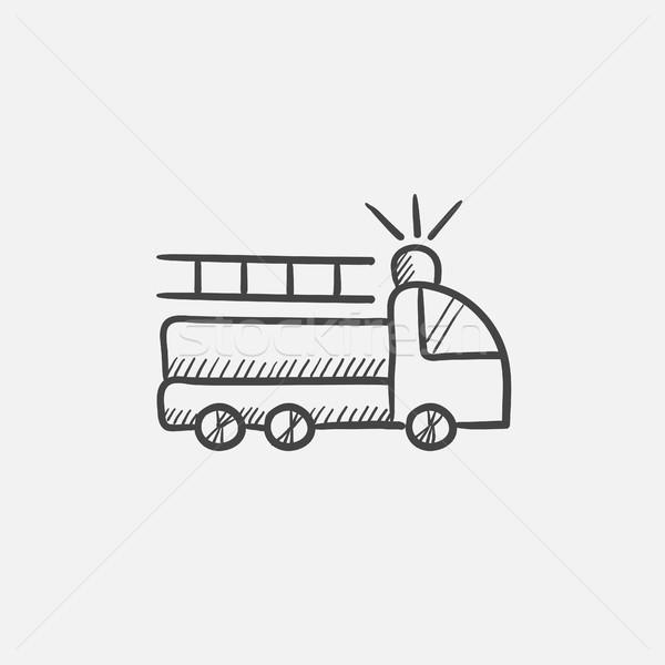 Wóz strażacki szkic ikona internetowych komórkowych infografiki Zdjęcia stock © RAStudio