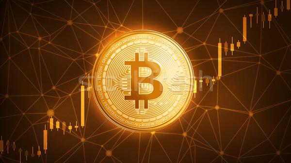 Gold bitcoin coin with bull stock chart. Stock photo © RAStudio