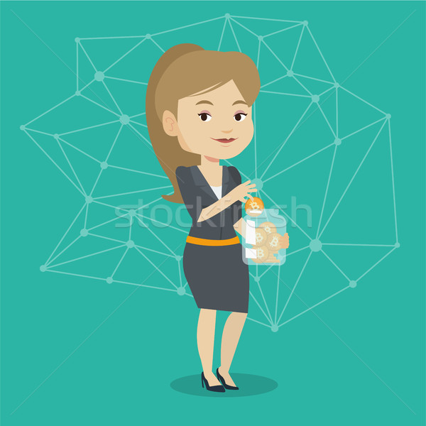Young woman putting bitcoin coin into glass jar. Stock photo © RAStudio