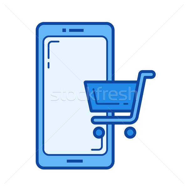 Mobile shopping line icon. Stock photo © RAStudio