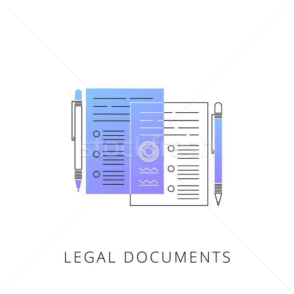 неоновых правовой документы вектора линия икона Сток-фото © RAStudio