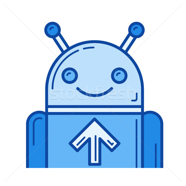 Upload mobile app line icon. Stock photo © RAStudio