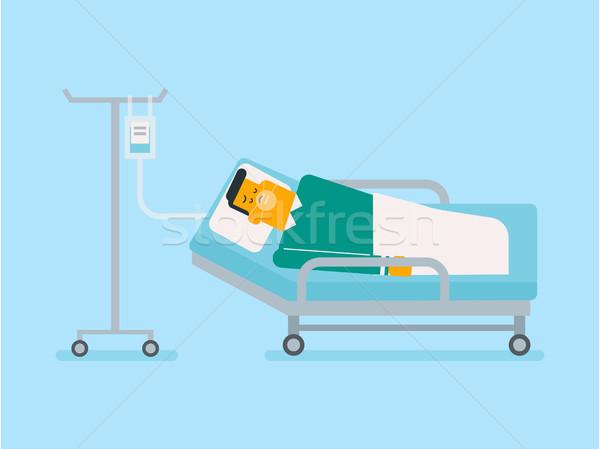 患者 病院用ベッド 酸素マスク 白人 白人 ドロップ ストックフォト © RAStudio