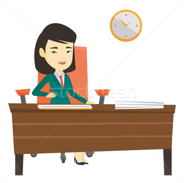 Podpisania działalności dokumentów kobieta umowy podpisania Zdjęcia stock © RAStudio