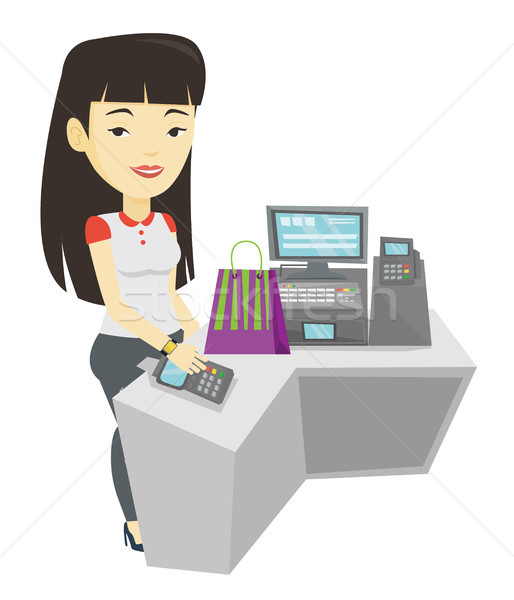 Woman paying wireless with smart watch. Stock photo © RAStudio