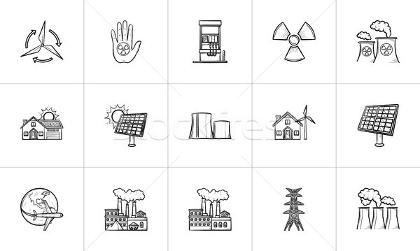 Ecology hand drawn sketch icon set. Stock photo © RAStudio