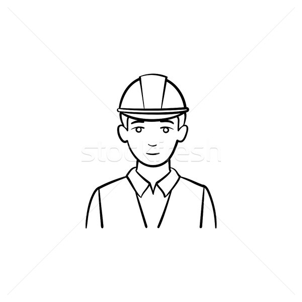Engineer in hard hat hand drawn sketch icon. Stock photo © RAStudio