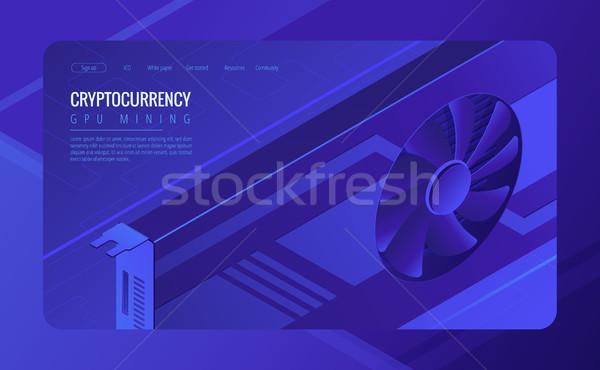 Isometric GPU mining landing page concept. Stock photo © RAStudio