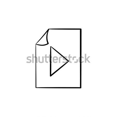 аудио файла рисованной болван икона Сток-фото © RAStudio