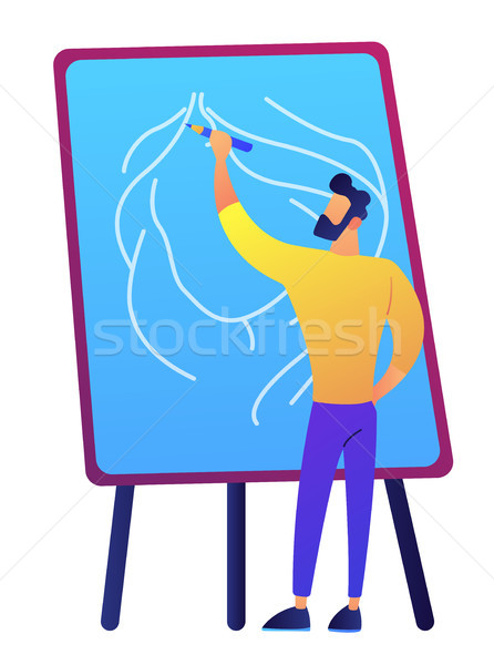 Artist holding a pencil and drawing on board vector illustration. Stock photo © RAStudio